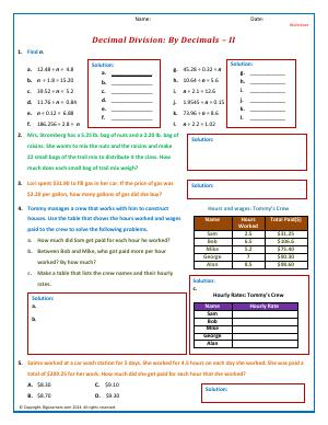 Preview image for worksheet with title Decimal Division: By Decimals - II