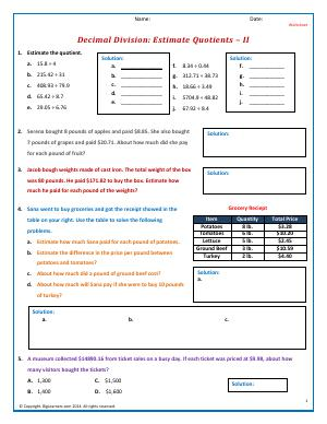 Preview image for worksheet with title Decimal Division: Estimate Quotients - II