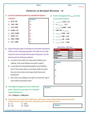 Preview image for worksheet with title Patterns in Decimal Division - II