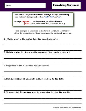Preview image for worksheet with title Combining Sentences