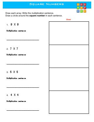 Preview image for worksheet with title Square Numbers