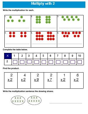 Preview image for worksheet with title Multiply with 2