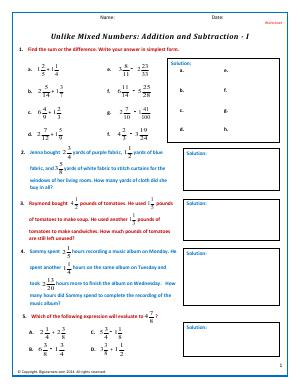 Preview image for worksheet with title Unlike Mixed Numbers: Addition and Subtraction - I