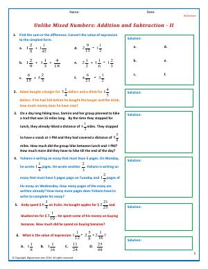 Preview image for worksheet with title Unlike Mixed Numbers: Addition and Subtraction - II