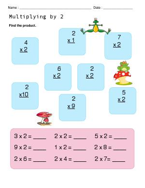 Preview image for worksheet with title Multiplying With 2