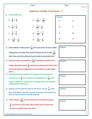 Preview image for worksheet with title Subtract Unlike Fractions - I