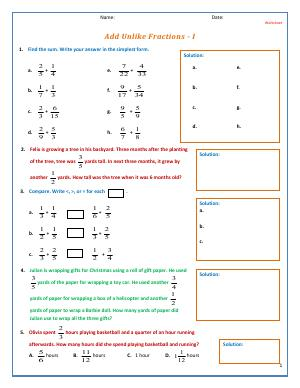 Preview image for worksheet with title Add Unlike Fractions - I