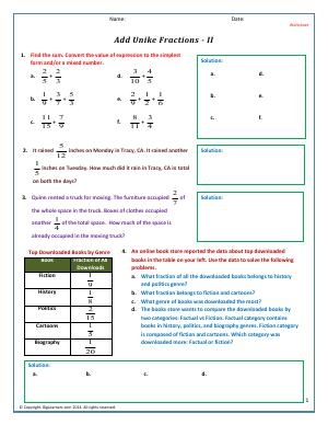 Preview image for worksheet with title Add Unlike Fractions - II