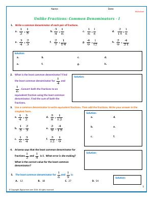 Preview image for worksheet with title Unlike Fractions: Common Denominators - I