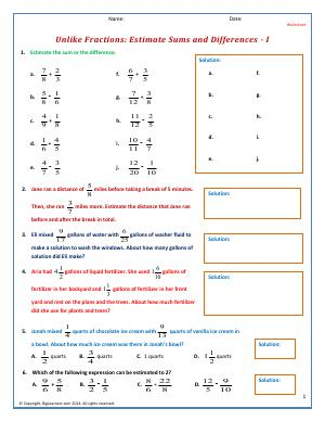Preview image for worksheet with title Unlike Fractions: Estimate Sums and Differences - I