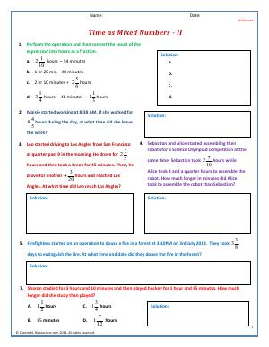 Preview image for worksheet with title Time as Mixed Numbers - II