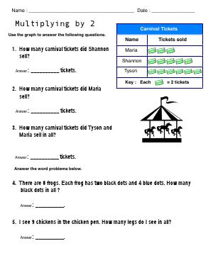 Preview image for worksheet with title Multiplying by 2