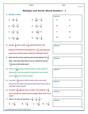 Preview image for worksheet with title Multiply and Divide Mixed Numbers - I
