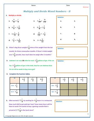 Preview image for worksheet with title Multiply and Divide Mixed Numbers - 2
