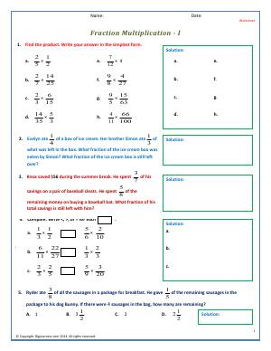 Preview image for worksheet with title Fraction Multiplication - I