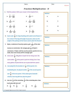 Preview image for worksheet with title Fraction Multiplication - II