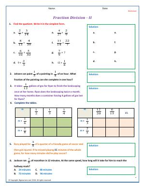 Preview image for worksheet with title Fraction Division - II
