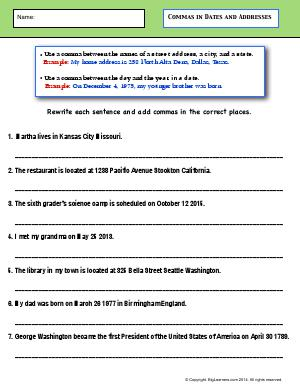 Preview image for worksheet with title Commas in Dates and Addresses