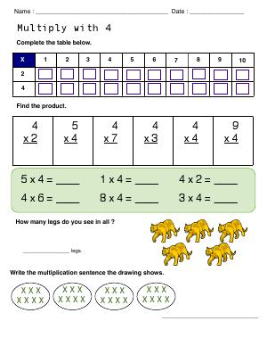 Preview image for worksheet with title Multiply with 4