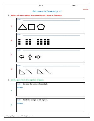 Preview image for worksheet with title Patterns in Geometry - I