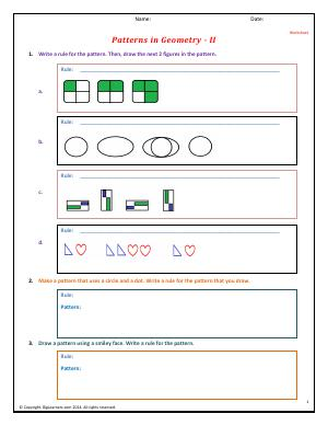 Preview image for worksheet with title Patterns in Geometry - II
