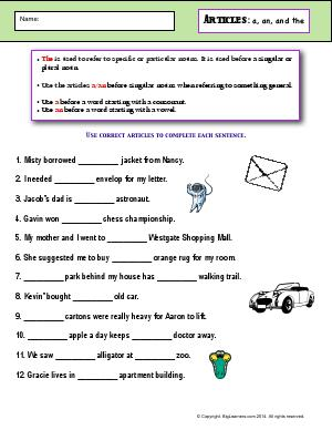Preview image for worksheet with title Articles: a, an, and the