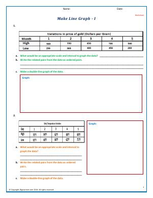 Preview image for worksheet with title Make Line Graphs - I