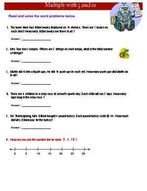 Preview image for worksheet with title Multiply with 5 and 10