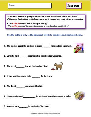 Preview image for worksheet with title Suffixes