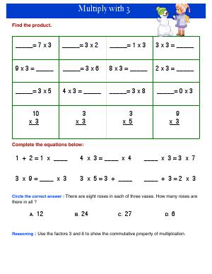 Preview image for worksheet with title Multiply with 3