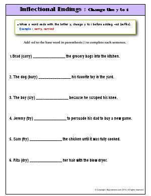 Preview image for worksheet with title Inflectional Endings : Change the y to i