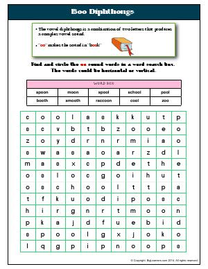 Preview image for worksheet with title Boo Diphthongs