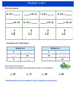 Preview image for worksheet with title Multiply with 6