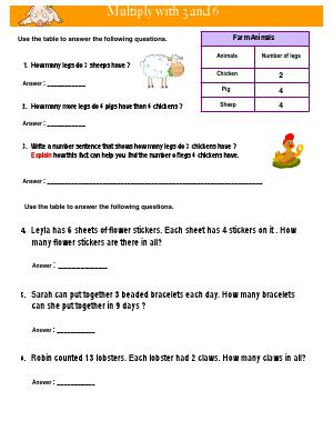 Preview image for worksheet with title Multiply with 3 and 6