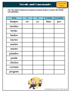 Preview image for worksheet with title Vowels and Consonants