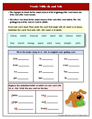 Preview image for worksheet with title Words With ch and tch