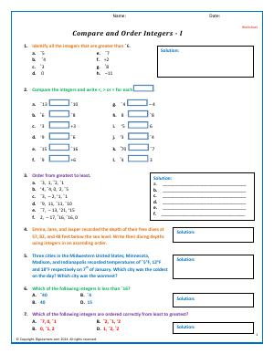 Preview image for worksheet with title Compare and Order Integers - I