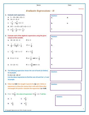 Preview image for worksheet with title Evaluate Expressions - II