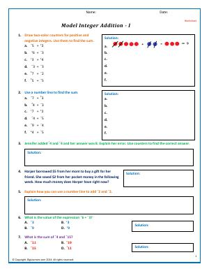 Preview image for worksheet with title Model Integer Addition - I