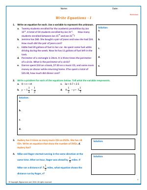 Preview image for worksheet with title Write Equations - I