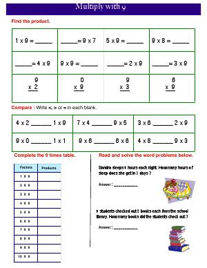 Preview image for worksheet with title Multiply with 9