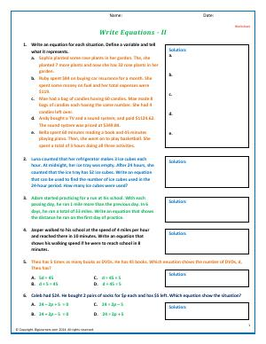 Preview image for worksheet with title Write Equations - II