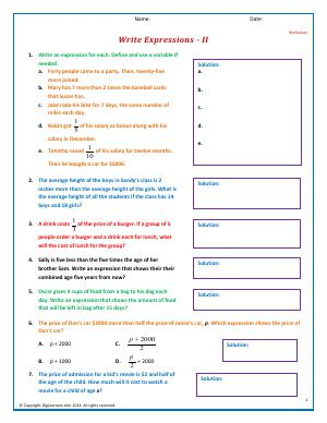 Preview image for worksheet with title Write Expressions - II