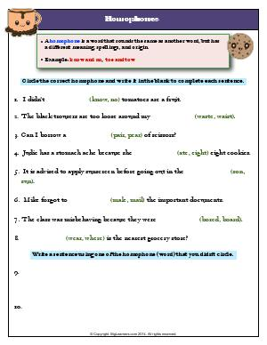 Preview image for worksheet with title Homophones
