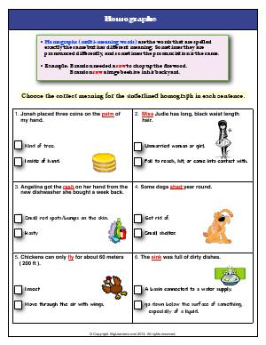 Preview image for worksheet with title Homographs