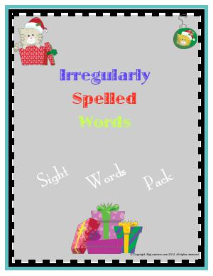 Preview image for worksheet with title Irregularly Spelled Words