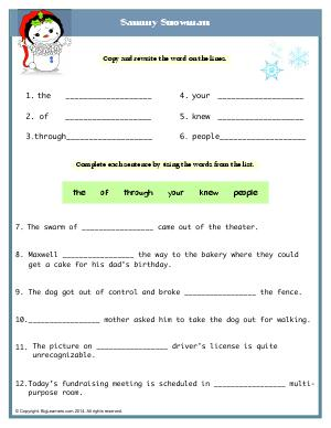Preview image for worksheet with title Sammy Snowman