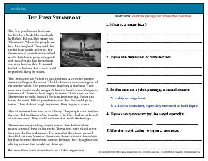 Preview image for worksheet with title The First Steamboat