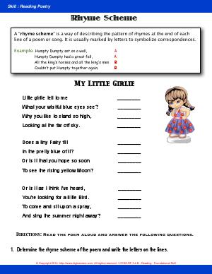 Preview image for worksheet with title Rhyme Scheme