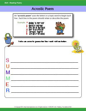 Preview image for worksheet with title Acrostic Poem